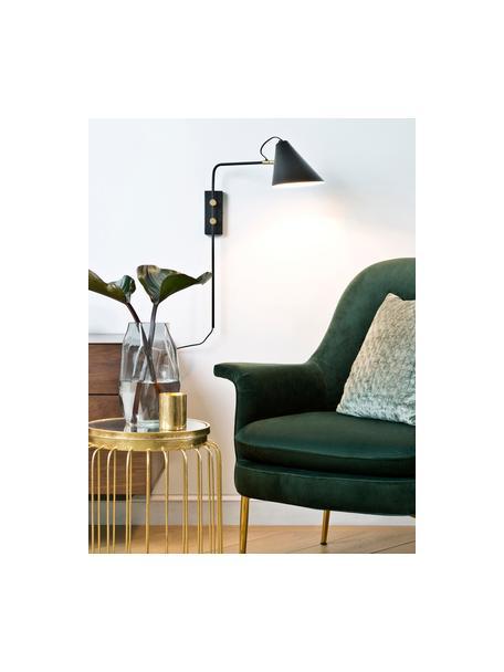 Wandlamp Club met stekker, Lampenkap: gepoedercoat ijzer, Decoratie: vermessingd metaal, Lamp: zwart. Details: messingkleurig, 18 x 62 cm
