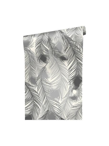 Behang Feathery, Vinylfolie, zijdemat, bedrukt, Zwart, wit, 90 x 250 cm