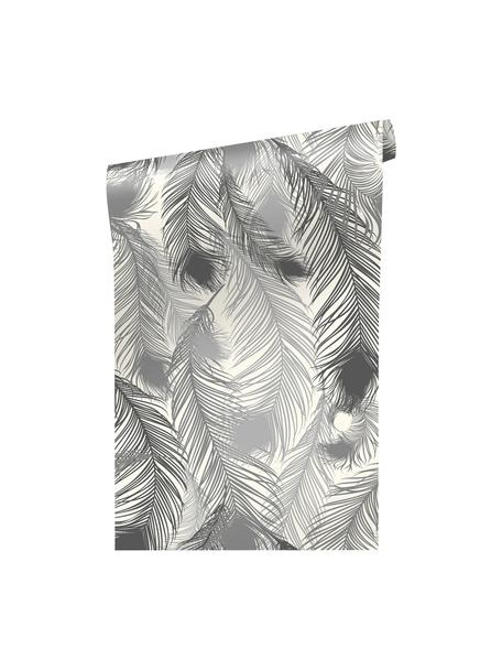 Papel pintado Feathery, Lámina de vinilo, semibrillante, impreso, Negro, blanco, An 90 x L 250 cm