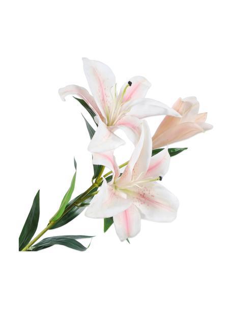 Giglio artificiale, bianco-rosa, Materiale sintetico, filo metallico, Bianco, rosa, Lung. 90 cm