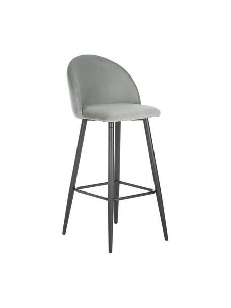 Grijze fluwelen barstoel Amy, Bekleding: fluweel (polyester), Poten: gepoedercoat metaal, Bekleding: grijs. Poten: mat zwart, 45 x 103 cm