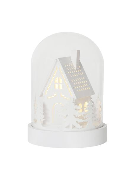 Pieza luminosa LED House, funciona a pilas, Tablero de fibras de densidad media, plástico, vidrio, Blanco, transparente, Ø 13 x Al 18 cm