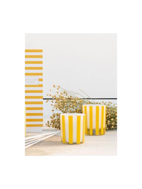 Geurkaars Beach Club (bloemen), Houder: glas, Geel, wit, transparant, Ø 9 x H 10 cm