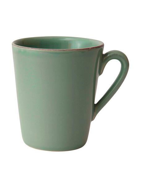 Tazas Constance, 2uds., estilo rústico, Gres, Verde salvia, Ø 9 x Al 10 cm
