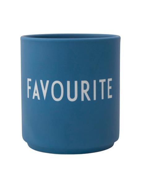 Design Becher FAVOURITE in Blau mit Schriftzug, Fine Bone China (Porzellan) Fine Bone China ist ein Weichporzellan, das sich besonders durch seinen strahlenden, durchscheinenden Glanz auszeichnet., Blau, Weiss, Ø 8 x H 9 cm