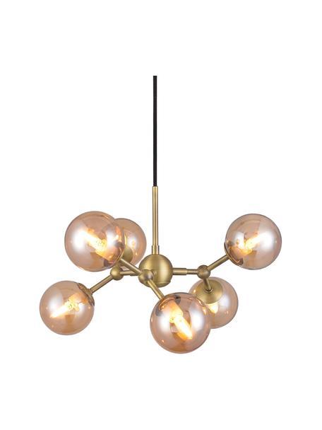 Lampada a sospensione Atom, Paralume: vetro, Struttura: metallo, Baldacchino: materiale sintetico, Ottonato, ambrato, Ø 45 x Alt. 18 cm