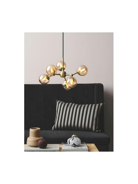 Lámpara de techo de vidrio de diseño Atom, Pantalla: vidrio, Anclaje: plástico, Cable: cubierto en tela, Latón, ámbar, Ø 45 x Al 18 cm