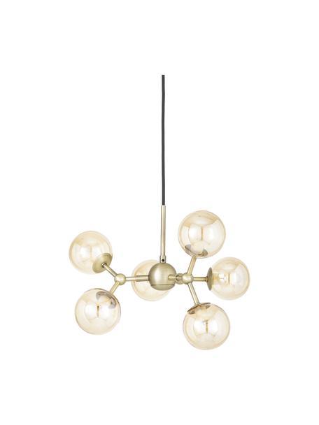 Lampa wisząca ze szkła Atom, Odcienie mosiądzu, odcienie bursztynowego, Ø 45 x W 18 cm