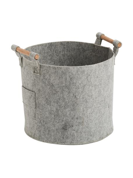 Aufbewahrungskorb Fritz, Korb: 100% Polyester (Filz), Griffe: Pappelholz, Grau, 32 x 28 cm