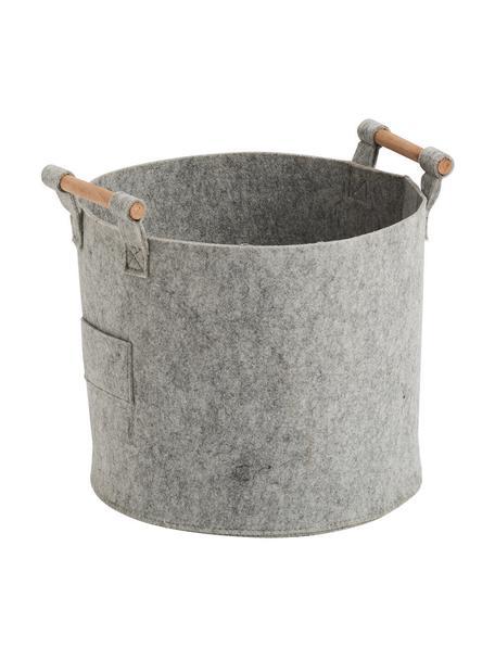 Opbergmand Fritz, Mand: 100% polyester (vilt), Handvatten: populierenhout, Grijs, 32 x 28 cm