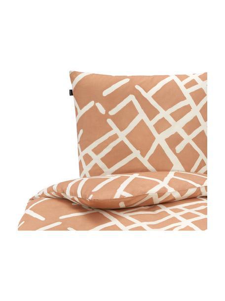 Gemusterte Baumwoll-Bettwäsche Kline, 100% Baumwolle  Fadendichte 145 TC, Standard Qualität  Bettwäsche aus Baumwolle fühlt sich auf der Haut angenehm weich an, nimmt Feuchtigkeit gut auf und eignet sich für Allergiker, Weiß, Karamellfarben, 135 x 200 cm + 1 Kissen 80 x 80 cm