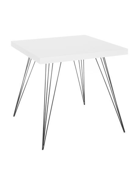 Mały stół do jadalni z metalowymi nogami Wolcott, Blat: płyta pilśniowa o średnie, Nogi: żeliwo lakierowane, Biały, czarny, S 80 x G 80 cm
