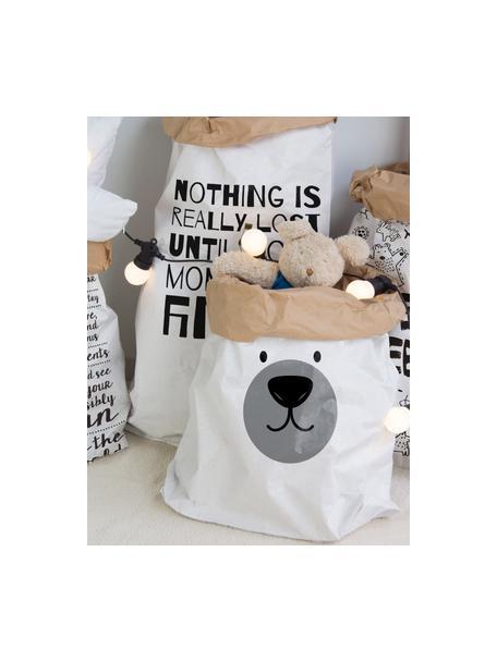 Opbergzak Bear, Gerecycled papier, Wit, zwart, grijs, 60 x 90 cm