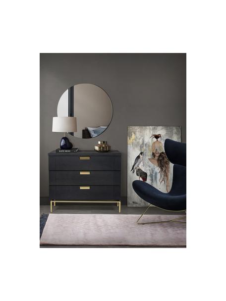 Wąska szafka z szufladami z drewna dębowego Pimlico, Ciemny brązowy, mosiądz, S 91 x W 75 cm