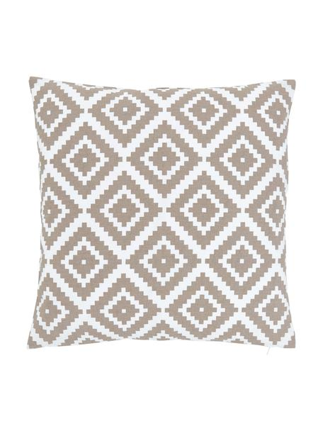 Federa arredo con motivo grafico Miami, 100% cotone, Beige, Larg. 45 x Lung. 45 cm