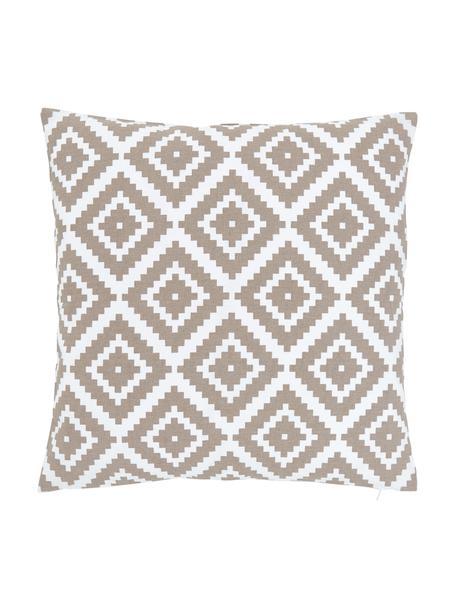 Kussenhoes Miami met grafisch patroon, 100% katoen, Beige, 45 x 45 cm