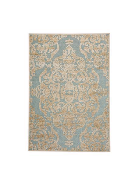 Tappeto vintage in viscosa con effetto a rilievo Marigot, Retro: 100% viscosa, Acqua marina, crema, Larg. 120 x Lung. 170 cm (taglia S)