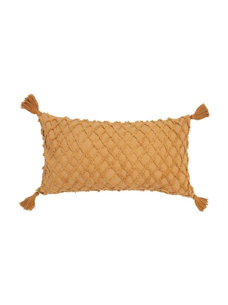 Kissenhülle Royal mit Hoch-Tief-Struktur und Quasten, 100% Baumwolle, Gelb, 30 x 60 cm