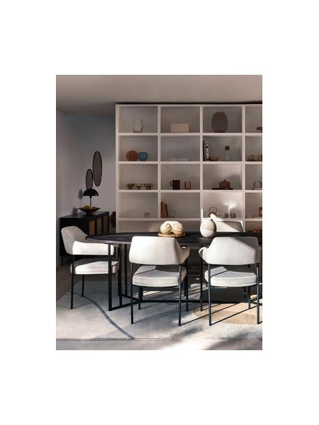 Sedia in velluto grigio con braccioli Zoe, Rivestimento: velluto (poliestere) Con , Struttura: metallo verniciato a polv, Velluto grigio, Larg. 56 x Prof. 62 cm