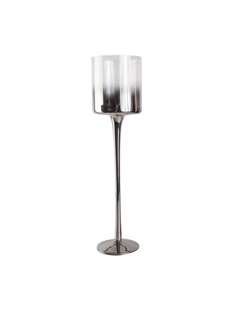 Kerzenhalter Shadow, Glas, Transparent, Silberfarben, Ø 9 x H 35 cm