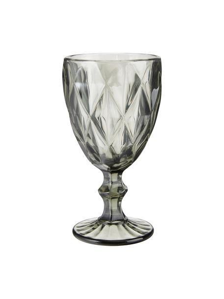 Wijnglazen Colorado met structuurpatroon, 4 stuks, Glas, Grijs, Ø 9 x H 17 cm