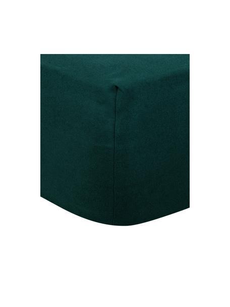 Lenzuolo con angoli in flanella verde bosco Biba, Tessuto: flanella, Verde bosco, Larg. 90 x Lung. 200 cm