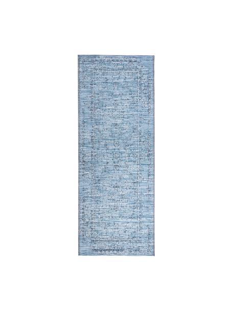 In- & outdoor loper Orient in vintage stijl, 100% polypropyleen, Blauwtinten, 77 x 200 cm