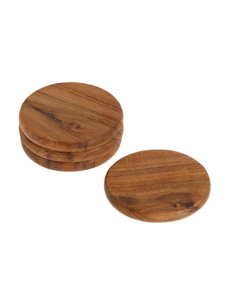 Sottobicchiere in legno di acacia Yanila 4 pz, Legno di acacia oliato, Legno di acacia, Ø 10 x Alt. 1 cm