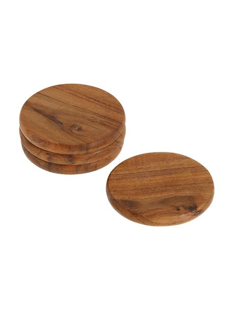 Untersetzer Yanila aus Akazienholz, 4 Stück, Akazienholz, geölt, Akazienholz, Ø 10 x H 1 cm
