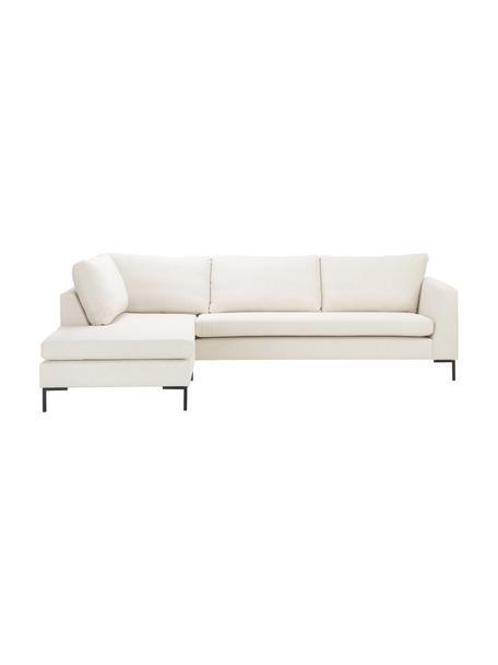 Sofa narożna z metalowymi nogami Luna, Tapicerka: 100% poliester Dzięki tka, Stelaż: lite drewno bukowe, Nogi: metal galwanizowany, Beżowy, S 280 x G 184 cm
