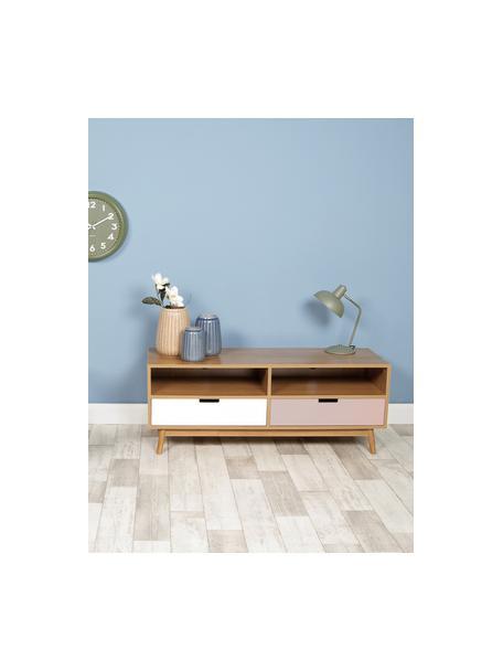 Lámpara de escritorio Hood, estilo retro, Pantalla: metal pintado, Cable: plástico, Verde, latón, blanco, An 20 x Al 38 cm