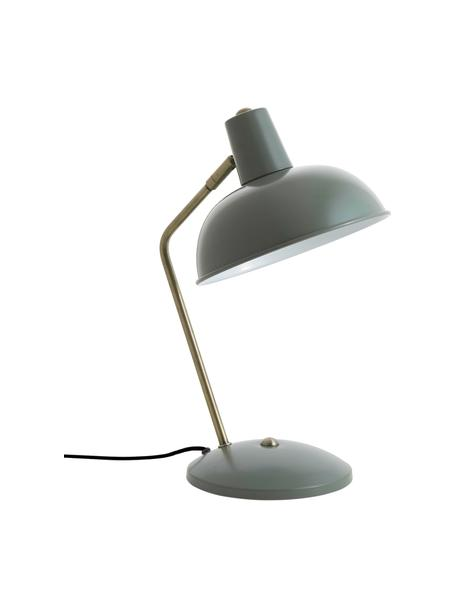 Retro tafellamp Hood, Lampenkap: gelakt metaal, Lampvoet: gelakt metaal, Lamp: groen, messingkleurig. Lampenkap binnenzijde: wit, 20 x 38 cm