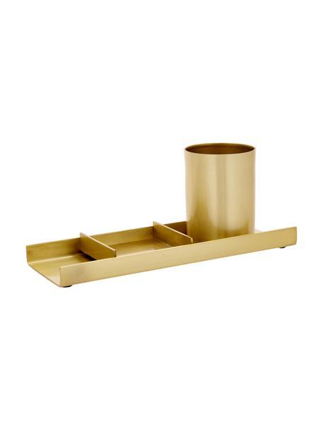 Komplet organizerów biurowych, 3elem., Metal, Odcienie mosiądzu, S 27 x W 10 cm