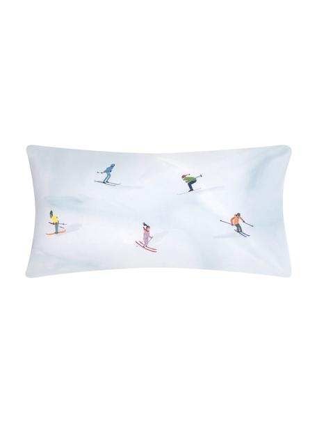 Designer Baumwollperkal-Kissenbezüge Ski von Kera Till, Webart: Perkal, Hellblau, Mehrfarbig, 40 x 80 cm