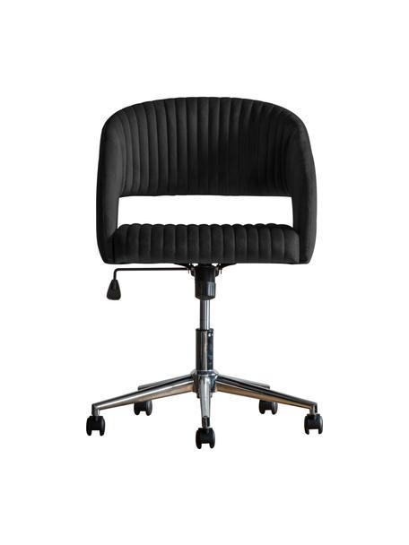 Krzesło biurowe z aksamitu Murray, obrotowe, Tapicerka: aksamit poliestrowy, Nogi: metal galwanizowany, Czarny, S 56 x G 52 cm