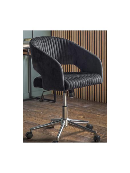 Fluwelen bureaustoel Murray, in hoogte verstelbaar, Bekleding: polyester fluweel, Poten: gegalvaniseerd metaal, Wieltjes: kunststof (nylon), Zwart, 56 x 52 cm