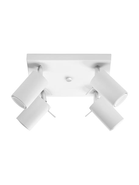 Kleine plafondspot Etna in wit, Baldakijn: gelakt staal, Wit, 25 x 15 cm