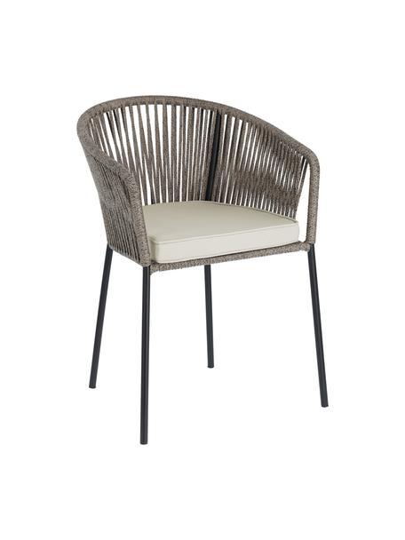 Gartenstuhl Yanet, Gestell: Metall, verzinkt und lack, Bezug: Polyester, Grau, B 56 x T 51 cm