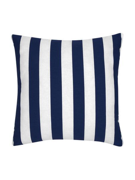Gestreepte kussenhoes Timon in donkerblauw, wit, 100% katoen, Blauw, 45 x 45 cm