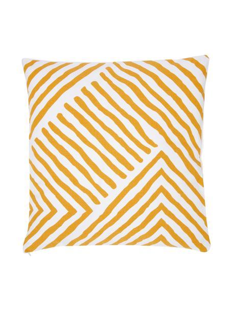 Gemusterte Kissenhülle Mia in Gelb/Weiß, 100% Baumwolle, Gelb-Orange, Weiß, 40 x 40 cm