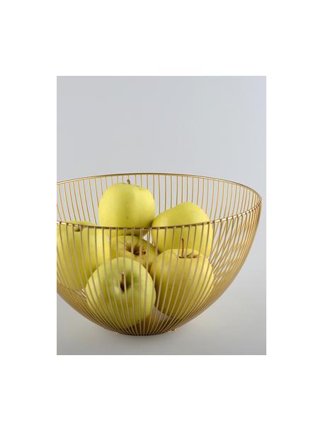 Goudkleurige opbergmand Conic, Gecoat metaal, Messingkleurig, Ø 25 x H 14 cm
