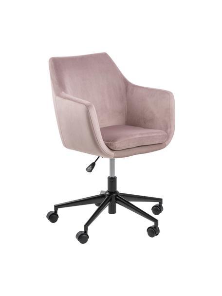 Krzesło biurowe z aksamitu Nora, obrotowe, Tapicerka: poliester (aksamit) 2500, Stelaż: metal malowany proszkowo, Aksamitny blady różowy, S 58 x G 58 cm