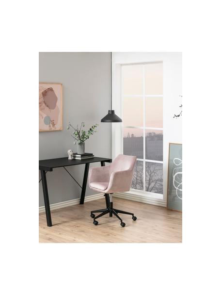 Biurowe krzesło obrotowe z aksamitu Nora, Tapicerka: poliester (aksamit) 2500, Stelaż: metal malowany proszkowo, Blady różowy, czarny, S 58 x G 58 cm