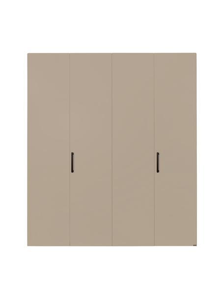 Kledingkast Madison 4 deuren, incl. montageservice, Frame: panelen op houtbasis, gel, Zandkleurig, zonder spiegeldeur, 202 x 230 cm