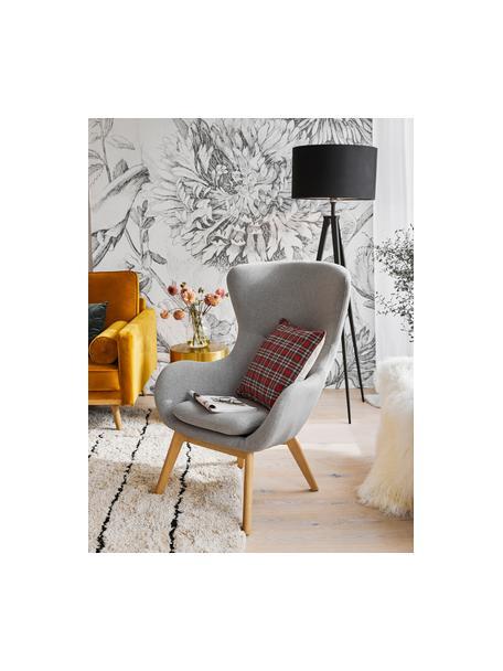 Fauteuil Wing in grijs met houten poten, Bekleding: polyester, Poten: gelakt massief hout met e, Grijs, B 77 x D 89 cm
