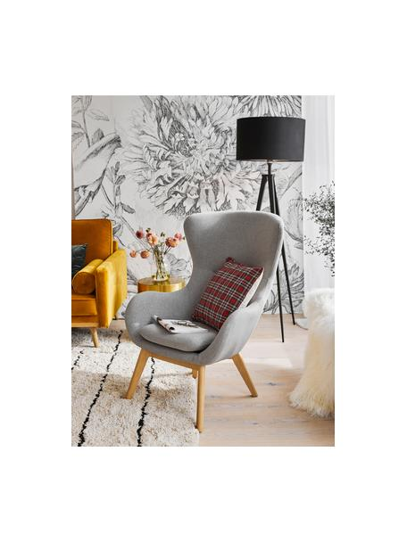 Fotel uszak z drewnianymi nogami Wing, Tapicerka: poliester Dzięki tkaninie, Nogi: lite drewno z fornirem je, Szary, S 77 x G 89 cm