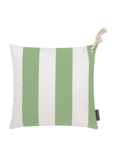 Funda de cojín para exterior Santorin, 100%polipropileno, Teflon® recubierto, Verde, blanco, An 40 x L 40 cm