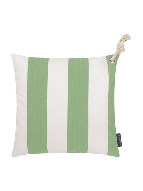 Gestreepte outdoor kussenhoes Santorin in wit/groen, 100% polypropyleen, Teflon® gecoat, Groen, wit, 40 x 40 cm