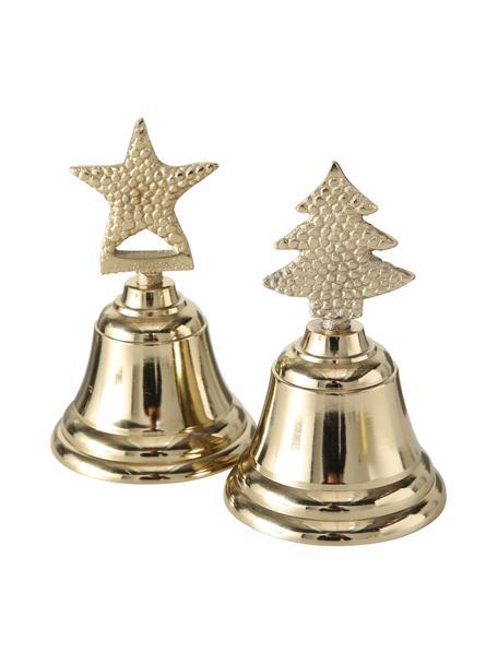Campanas decorativas Liselle, 2uds., Aluminio, Dorado, Ø 7 x Al 11 cm