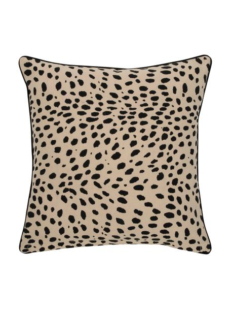 Funda de cojín Leopard, 100%algodón, Beige, negro, An 45 x L 45 cm